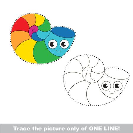 Rainbow Sea Shell se traza sólo de una línea, el juego educativo de rastreo a los niños preescolares con el nivel de juego fácil, la versión colorida e incolora. Foto de archivo - 80177769
