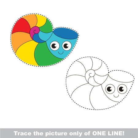 joining: Rainbow Sea Shell to be traced only of one line, the tracing educational game to preschool kids with easy game level, the colorful and colorless version. Illustration