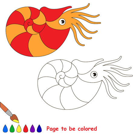 Red and orange Nautilus to be colored, the coloring book for preschool kids with easy educational gaming level. Illustration