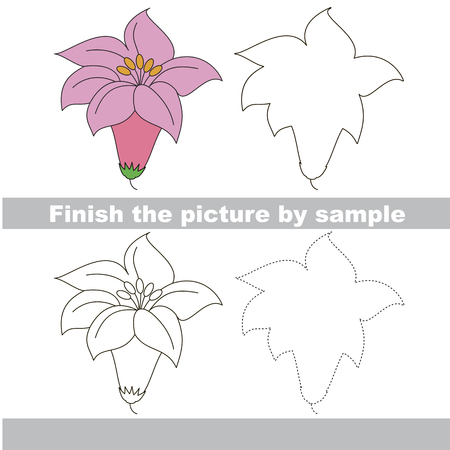 Drawing worksheet for preschool kids with easy gaming level of difficulty, simple educational game for kids to finish the picture by sample and draw the Pink Lilly