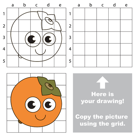 Copy the picture using grid lines, the simple educational game for preschool children education with easy gaming level, the kid drawing game with Funny One Persimmon