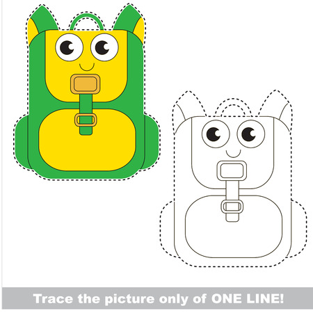 Green Funny Knapsnack to be traced only of one line, the tracing educational game to preschool kids with easy game level, the colorful and colorless version.