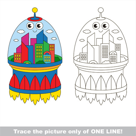Space City to be traced only of one line, the tracing educational game to preschool kids with easy game level, the colorful and colorless version.