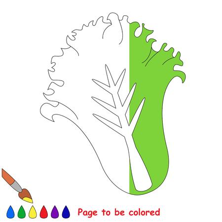 Grüner Salat, das Malbuch, um Vorschulkinder mit einfachem Spielniveau zu erziehen, das Kindlernspiel, zum der farblosen Hälfte durch Probe zu färben. Standard-Bild - 80177802