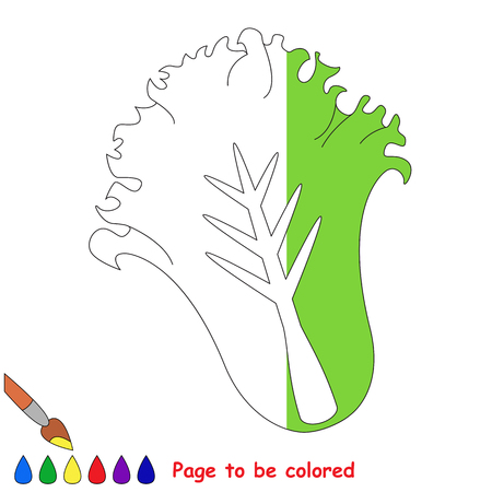 Green Lettuce, the coloring book to educate preschool kids with easy gaming level, the kid educational game to color the colorless half by sample. Ilustracja