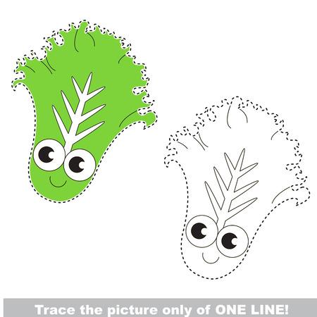 Grappige Groene Sla, die alleen op één lijn wordt opgespoord, het traceerbare educatieve spel voor voorschoolse kinderen met makkelijk spelniveau, de kleurrijke en kleurloze versie.