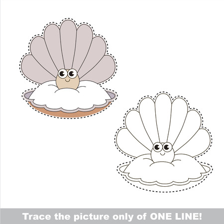 Cute Oyster to be traced only of one line, the tracing educational game to preschool kids with easy game level, the colorful and colorless version.