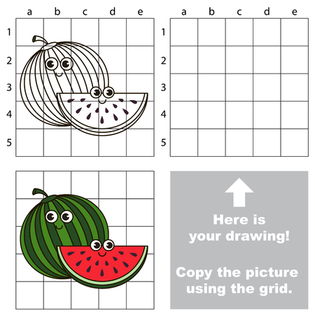 Copy the picture using grid lines, the simple educational game for preschool children education with easy gaming level, the kid drawing game with Funny Watermelon and Slice