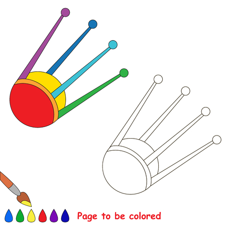 Colorful Satellite to be colored, the coloring book for preschool kids with easy educational gaming level.