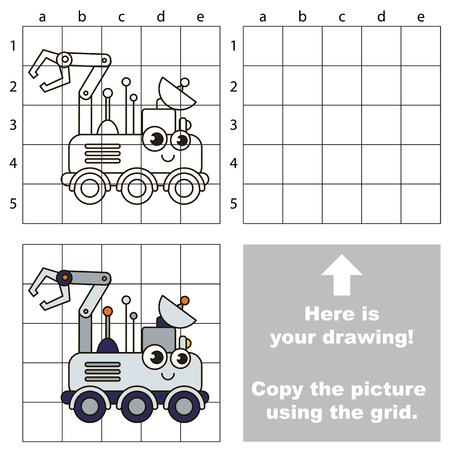 grab: Copy the picture using grid lines, the simple educational game for preschool children education with easy gaming level, the kid drawing game with Wheeled Lunar Rover