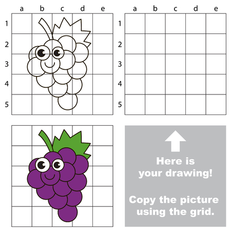Copy the picture using grid lines, the simple educational game for preschool children education with easy gaming level, the kid drawing game with Funny Grapes