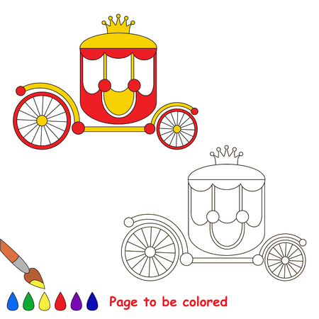 Princess Red Chariot to be colored, the coloring book for preschool kids with easy educational gaming level.