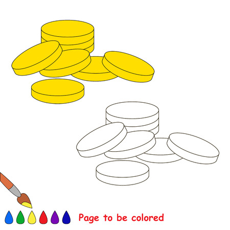 Cash Money - Gold Coins to be colored, the coloring book for preschool kids with easy educational gaming level. Illustration