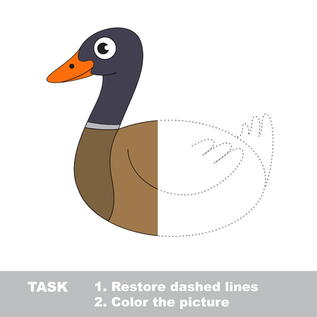 joining the dots: Beautiful Wild Duck. Dot to dot educational game for kids.