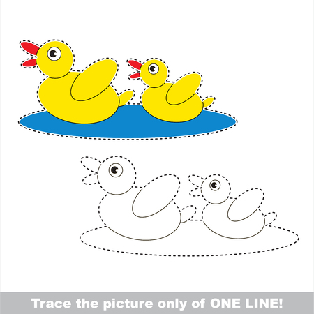 Two Cute Small Ducks to be traced only of one line, the tracing educational game to preschool kids with easy game level, the colorful and colorless version.