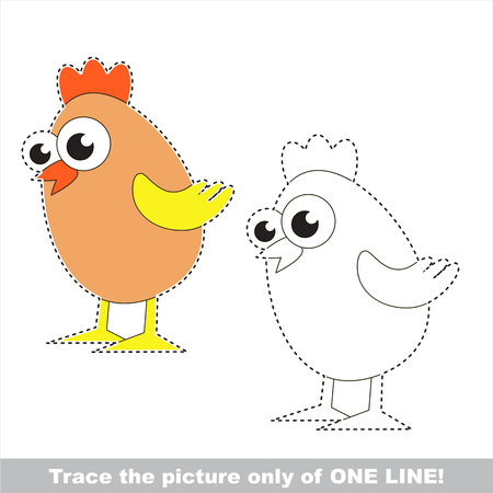 version: Small Egg Chicken to be traced only of one line, the tracing educational game to preschool kids with easy game level, the colorful and colorless version.