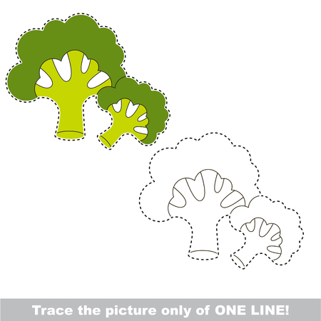 joining the dots: Two Broccolies to be traced only of one line, the tracing educational game to preschool kids with easy game level, the colorful and colorless version.