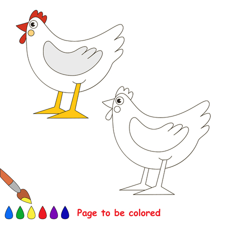White Hen to be colored, the coloring book for preschool kids with easy educational gaming level. 向量圖像