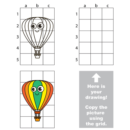 Copy the picture using grid lines by drawing Funny Balloon