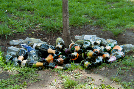 A lot of empty bottles of glass lie under a tree
