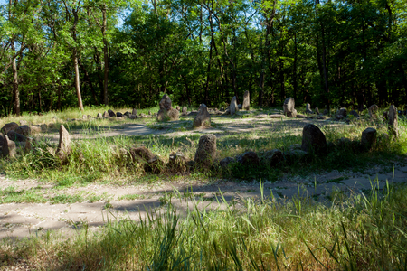 thousand: The largest sanctuary on the island of Hortica dates back to two thousand years BC. Stock Photo