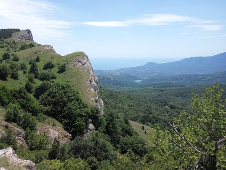 mountains overlooking the sea and village, the forest