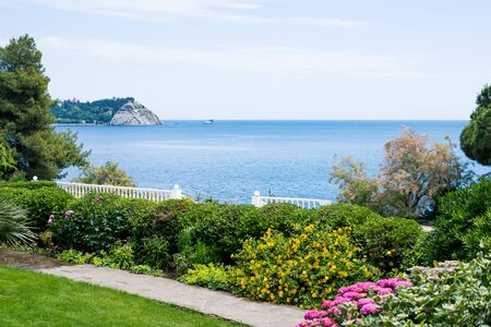 beautiful view from the shore to the sea on a sunny summer day Stock Photo