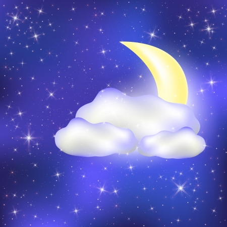 good evening: Night sky with clouds Month