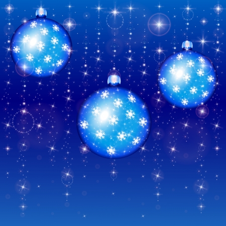 new year's: New Year s balls on a blue background with stars