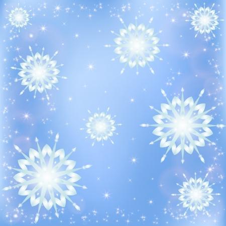 Falling snowflakes, winter frosty  Illustration