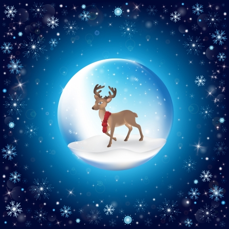 New Year s ball with Christmas deer with snowflakes Vector