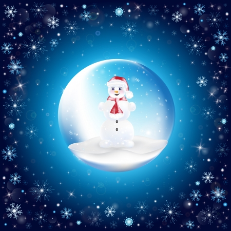 New Year s ball with Snowman with snowflakes on background Vector