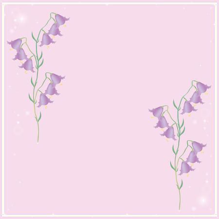 campanula: Campanula spring flowers and particle Illustration