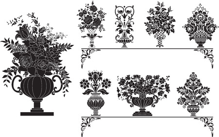 Eight Different Vases with Flowers Stock Vector - 6386938