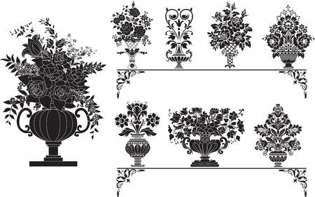Acht verschillende vazen met bloemen
