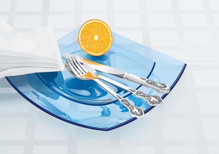 Glass plates with table silver Vector