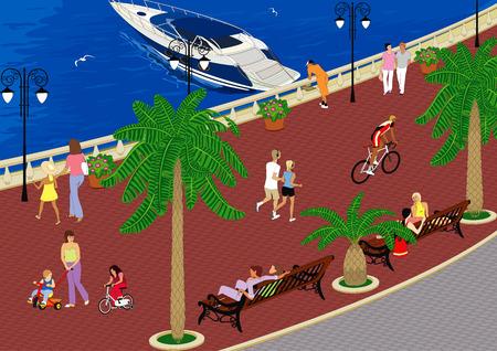promenade: Walking along the promenade by the sea