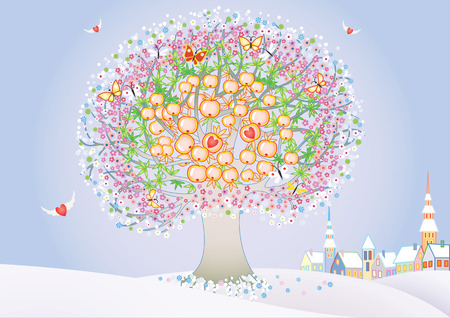 admirer: Abstract tree for St.Valentines day Illustration