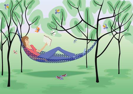 Fille lit un livre dans un hamac.