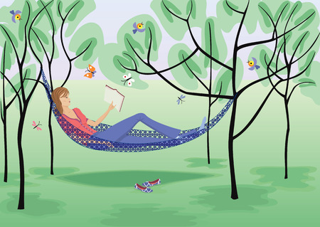hammock: Girl reads a book in a hammock