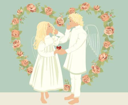 Two angels surrounded the heart of roses in the vintage style   Vector