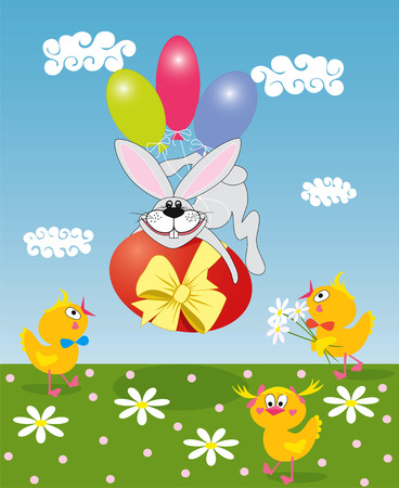 Bunny with a colored egg Stock Vector - 6386951