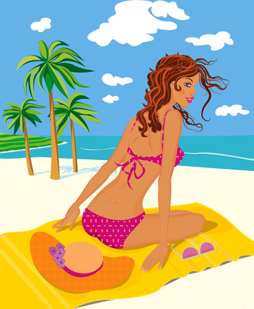 sit back: A beautiful woman in bikini on a vacant beach Illustration