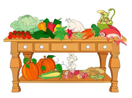 cucumber salad: Alimentos �tiles para su nutrici�n saludable  Vectores