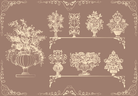 Set of vases with flowers in a retro style Vector