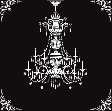 chandelier isolated: Crystal chandelier Illustration