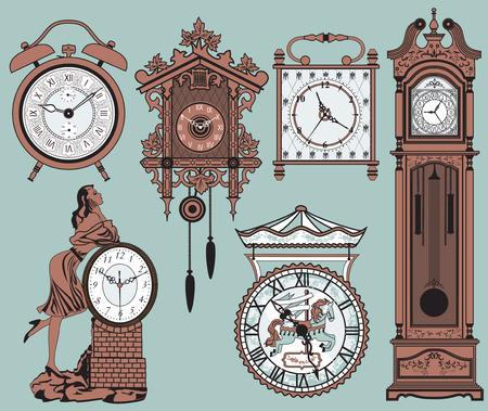woman clock: Un conjunto de relojes antiguos elegantes