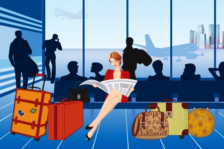 Woman reading a newspaper and waiting for her plane at the airport Vector