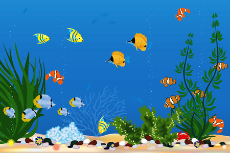 Background with beautiful tropical fishes Vector