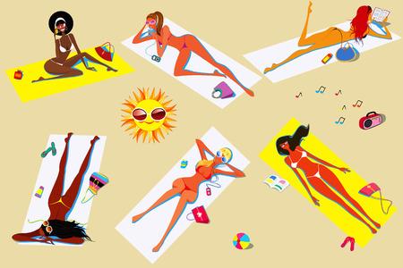 Girls in bikini sunbathe on the beach Vector
